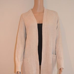 Womens cream cardigan with elbow patches